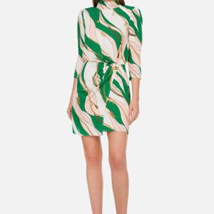 abito corto con stampa foulard elisabetta franchi logo estate primavera verde rosa pompelmo